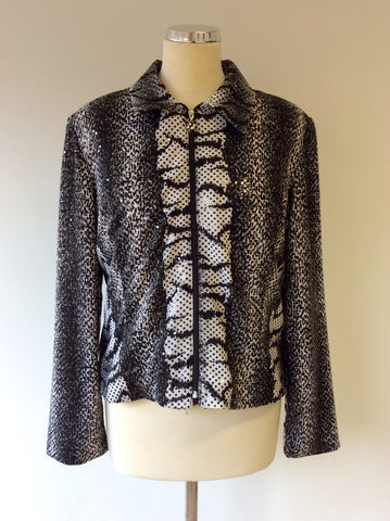 JOSEPH RIBKOFF BLACK & WHITE PRINT TOP & JACKET SIZE 16 - Whispers Dress Agency - Sold - 2