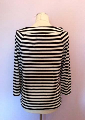 AUSTIN REED BLACK & WHITE STRIPE 3/4 SLEEVE TOP SIZE L - Whispers Dress Agency - Womens Tops - 2