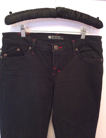 Rock & Republic Black & Red Kassandra Boot Leg Jeans Size 29 - Whispers Dress Agency - Womens Jeans - 2