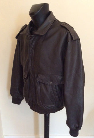 "The Pilot Dark Brown Leather Pilot Jacket Size 54 UK 44"" - Whispers Dress Agency - Mens Coats & Jackets - 3"