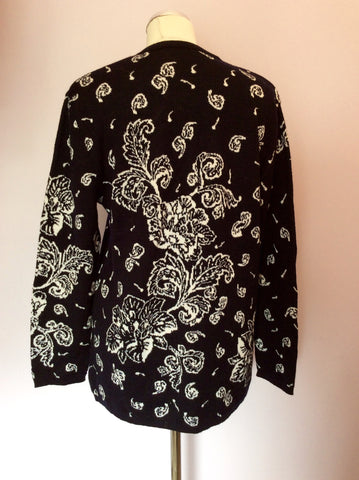 Vintage Jaeger Black & White Print Wool & Cotton Jumper Size M - Whispers Dress Agency - Womens Vintage - 2