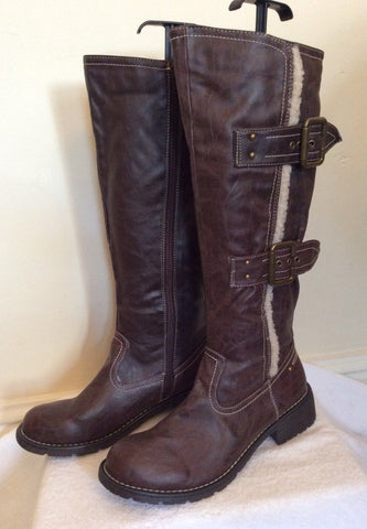 Brand New Cats Eyes Dark Brown Buckle Trim Boots Size 6/39 - Whispers Dress Agency - Womens Boots - 2