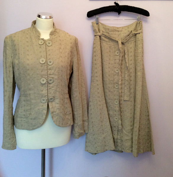 Betty Jackson Beige Linen Skirt Suit Size 10/12 - Whispers Dress Agency - Sold - 1