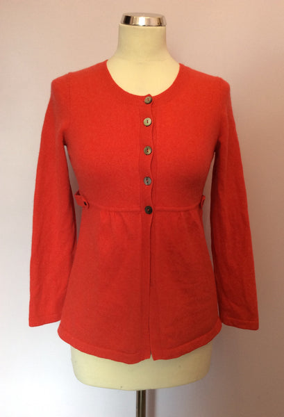 Boden Coral Red 100% Cashmere Cardigan Size 10 - Whispers Dress Agency - Sold - 1