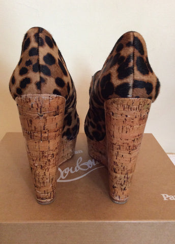 Christian Louboutin Leopard Print Platform Wedges Size 6.5/39.5 - Whispers Dress Agency - Womens Wedges - 6