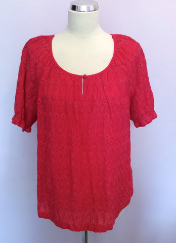 BRAND NEW MONSOON HOT PINK BROIDERY ANGLAISE TOP SIZE 16 - Whispers Dress Agency - Womens Tops - 1