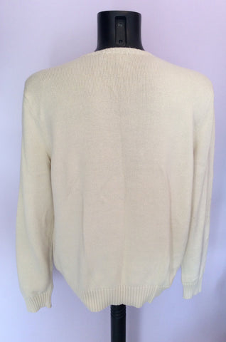 Ralph Lauren Cream Crew Neck Cotton Jumper Size L - Whispers Dress Agency - Mens Knitwear - 2