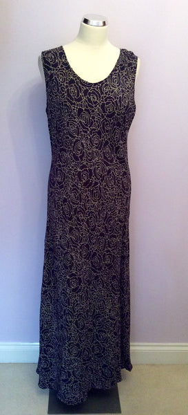 Gina Bacconi Dark Blue Floral Print Long Dress Size 16 - Whispers Dress Agency - Sold - 1