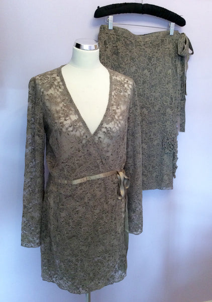 Avoca Anthology Olive Green Lace Wrap Around Top & Skirt Size 12/14 - Whispers Dress Agency - Sold - 1