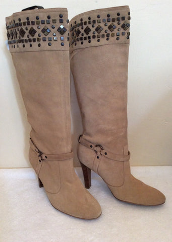 Brand New Morgan Beige Suede Studded Trim Heels Size 7.5/41 - Whispers Dress Agency - Womens Boots - 1