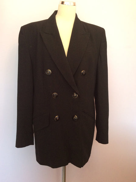 Vintage Jaeger Black Wool Double Breasted Jacket Size 16 - Whispers Dress Agency - Sold - 1