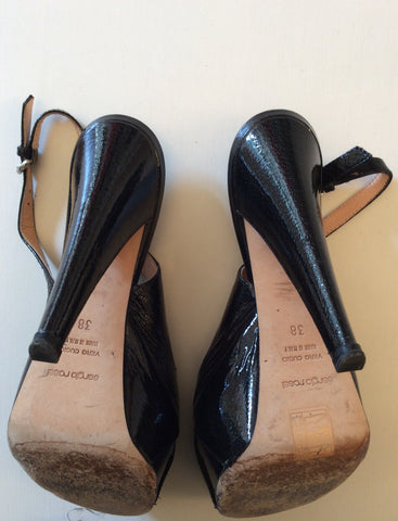 SERGIO ROSSI BLACK PATENT LEATHER PEEPTOE SLINGBACK HEELS SIZE 5/38 - Whispers Dress Agency - Womens Heels - 5