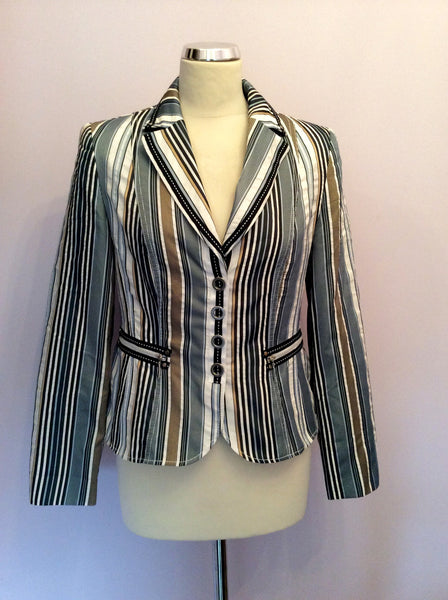 Gerry Weber Blue, White & Gold Striped Jacket Size 10 - Whispers Dress Agency - Sold - 1