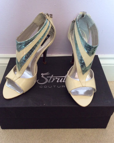 New In Box Strutt Couture Cream & Mint Patent Leather Heels Size 3/36 - Whispers Dress Agency - Womens Heels - 2