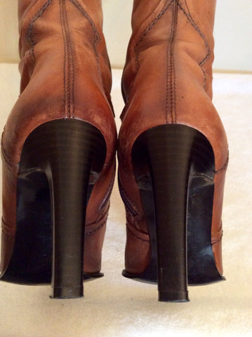 Bertie Tan Leather Slim Leg Boots Size 3.5/36 - Whispers Dress Agency - Womens Boots - 4