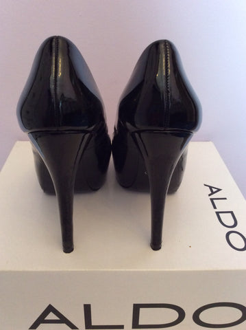 Aldo Black Patent Leather Platform Sole Peeptoe Heels Size 4/37 - Whispers Dress Agency - Womens Heels - 3