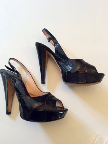 SERGIO ROSSI BLACK PATENT LEATHER PEEPTOE SLINGBACK HEELS SIZE 5/38 - Whispers Dress Agency - Womens Heels - 2