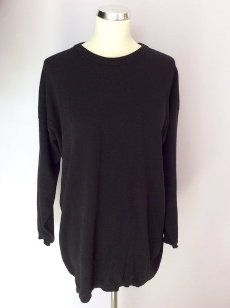 "Vintage Jaeger Black Lambswool Crew Neck Jumper Size 34"" Approx UK L - Whispers Dress Agency - Sold - 1"