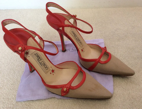 Jimmy Choo Red Leather & Beige Canvas Strappy Heels Size 5/38 - Whispers Dress Agency - Sold - 3