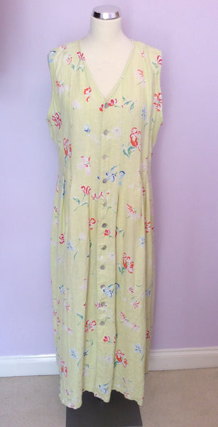 Jackpot By Carli Gry Lemon Floral Print Linen Dress Size 4 UK XL - Whispers Dress Agency - Sold - 1