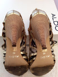 Aldo 'Surran' Gold Strappy Leather Peeptoe Heels Size 7/40 - Whispers Dress Agency - Sold - 5