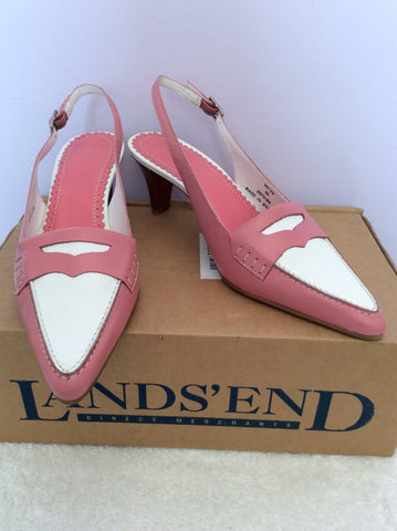 Brand New Landsend Pink & White Leather Slingback Heels Size 6/39 - Whispers Dress Agency - Womens Heels - 1