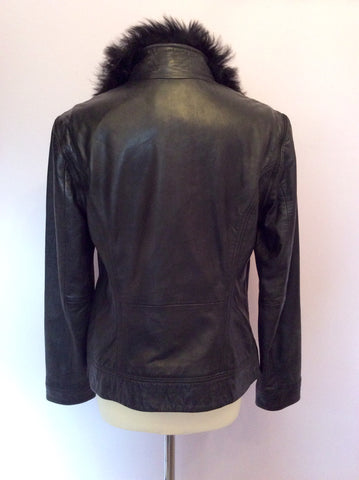 Brand New Ted Baker Black Leather Fur Collar Biker Jacket / Gilet Size 4 UK 12 - Whispers Dress Agency - Womens Coats & Jackets - 6