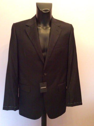 BRAND NEW EX SAMPLE JAEGER BLACK STRIPE WOOL SUIT JACKET SIZE 38L - Whispers Dress Agency - Mens Suits & Tailoring - 1