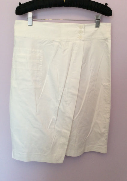 Penny Black White Wrap Across Cotton Skirt Size 16 Fit Approx 14 - Whispers Dress Agency - Womens Skirts - 1