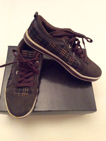 Brand New Dolce & Gabanna Brown Check Lace Up Plimsols Size 7.5/42 - Whispers Dress Agency - Sold - 1