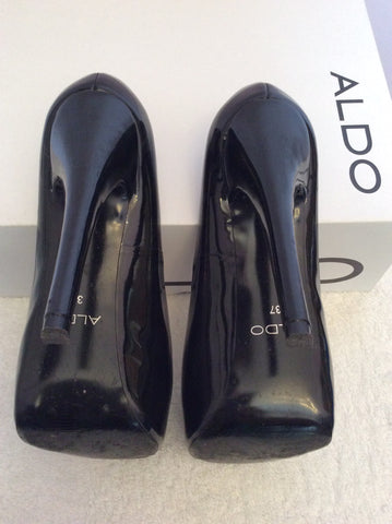 Aldo Black Patent Leather Platform Sole Peeptoe Heels Size 4/37 - Whispers Dress Agency - Womens Heels - 4