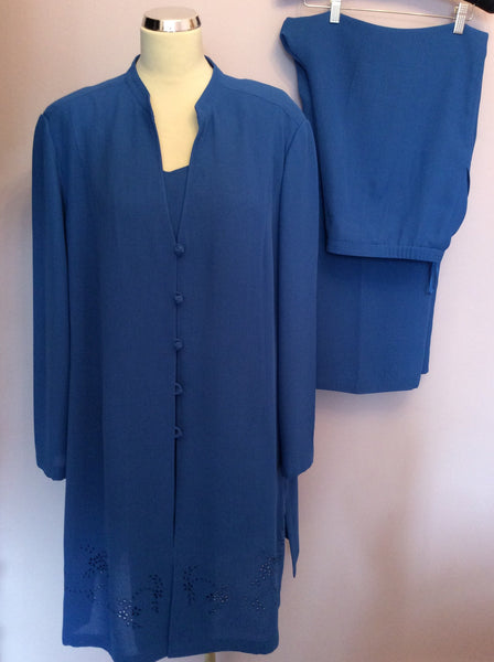Jacques Vert Blue, Top, Trousers & Long Jacket Suit Size 22 - Whispers Dress Agency - Sold - 1