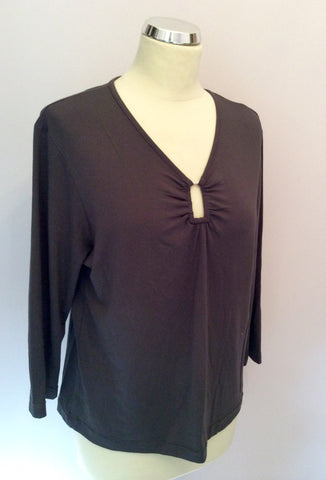 Apanage Brown Stretch 3/4 Sleeve Top Size XXL - Whispers Dress Agency - Womens Tops - 1