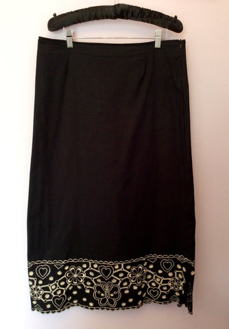 ADINI BLACK & WHITE EMBROIDERED TRIM TOP & LONG SKIRT SIZE L - Whispers Dress Agency - Womens Suits & Tailoring - 4
