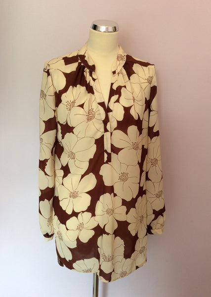Phase Eight Brown & Cream Floral Print Blouse Size 14 - Whispers Dress Agency - Womens Shirts & Blouses - 1