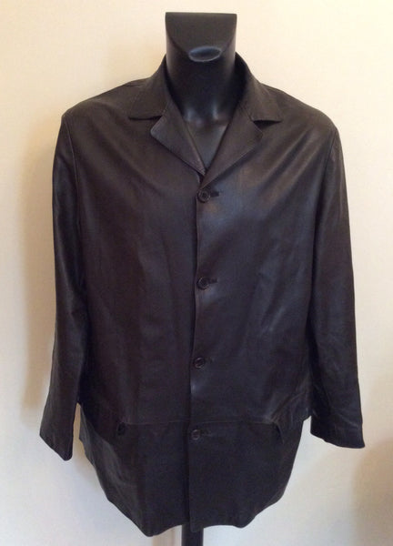 Italian Ruffo Black Supersoft Long Leather Jacket Size 52 UK 42 - Whispers Dress Agency - Sold - 1