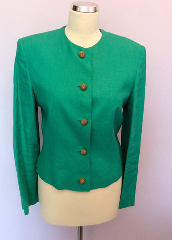 Vintage Jaeger Green Linen Box Jacket Size 10 - Whispers Dress Agency - Womens Vintage - 1