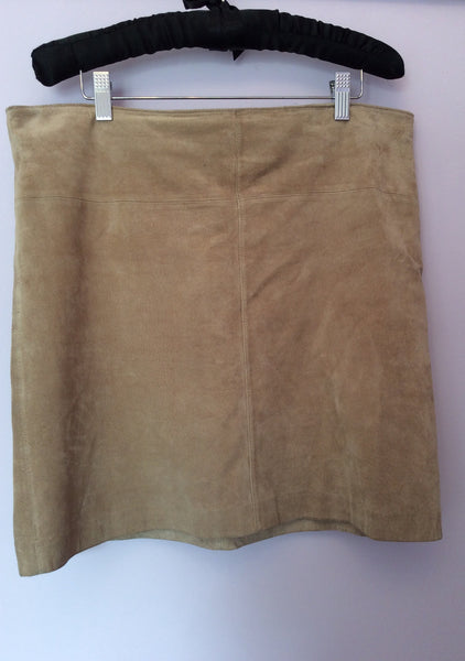 Kaliko Beige Soft Suede Mini Skirt Size 14 - Whispers Dress Agency - Womens Skirts - 1