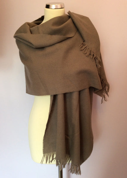 Vintage Jaeger Light Brown Lambswool Scarf - Whispers Dress Agency - Sold - 1
