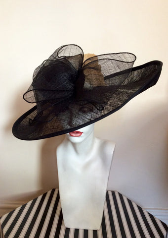 Natural Straw & Black Wide Brim Bow Trim Formal Hat - Whispers Dress Agency - Womens Formal Hats & Fascinators - 2