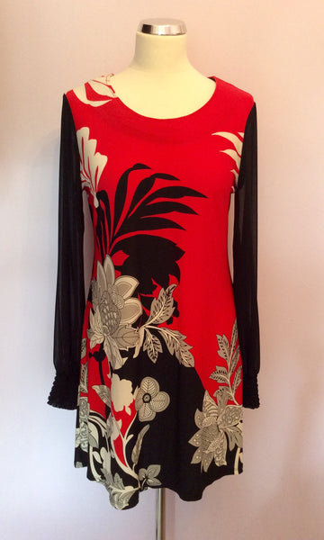 Star By Julien Macdonald Red, White & Black Print Dress Size 12 - Whispers Dress Agency - Sold - 1