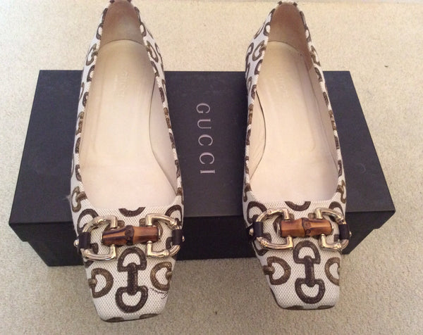 Gucci Cream & Brown Horse Bit Print Canvas Flats Size 4.5/37.5 - Whispers Dress Agency - Sold - 1