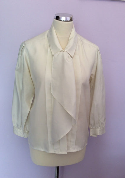 "Vintage Ivory Tie Front Blouse Size 34"" UK 10/12 - Whispers Dress Agency - Sold - 1"