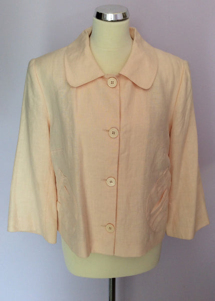 Betty Jackson Pale Peach Linen Jacket Size 14 - Whispers Dress Agency - Womens Coats & Jackets - 1