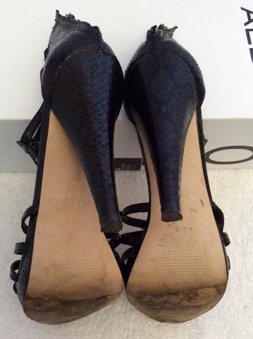Aldo Black Snakeskin Leather Studded Heel Sandals Size 4/37 - Whispers Dress Agency - Womens Heels - 6