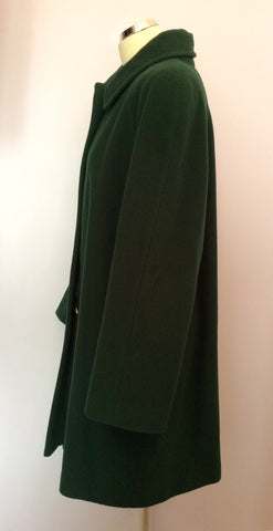 Austin Reed Dark Green Wool & Cashmere Blend Coat Size 16 - Whispers Dress Agency - Womens Coats & Jackets - 2