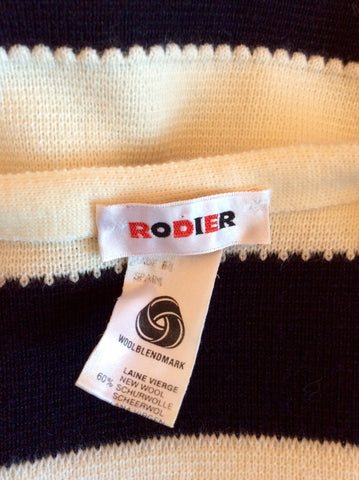 Vintage Rodier Navy Blue & Ivory Stripe Wool Blend Cardigan/Jacket Size 12 - Whispers Dress Agency - Womens Vintage - 3