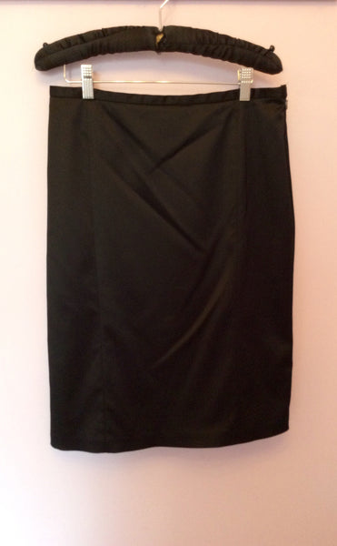 Coast Black Matt Satin Pencil Skirt Size 12 - Whispers Dress Agency - Womens Skirts - 1