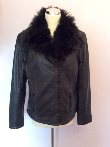 Brand New Ted Baker Black Leather Fur Collar Biker Jacket / Gilet Size 4 UK 12 - Whispers Dress Agency - Womens Coats & Jackets - 4