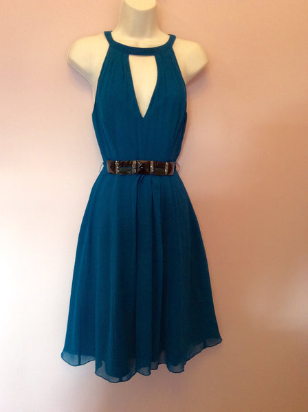 Ted Baker Turquoise Blue Silk Dress Size 1 UK 8 - Whispers Dress Agency - Sold - 1
